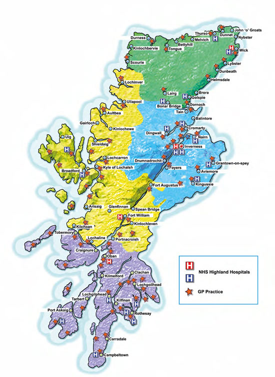 Map of NHS Highland