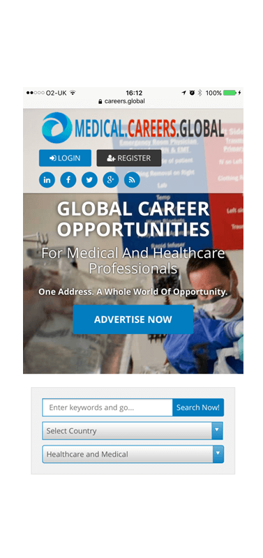 Global Medical Careers mobile platform
